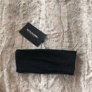 PRETTYLITTLETHING Size 0 Black Bandeau Bikini Top